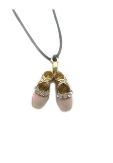 Pointe Shoes Necklace with Rhinestones