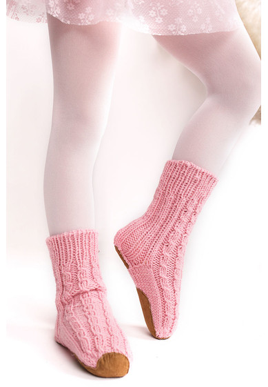 WOOL HANDMADE BALLET SLIPPER SOCKS FOR CHILDREN BY ΤΑΝΟΚ